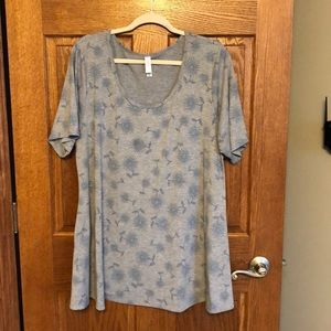Lularoe Heather Gray Powder Blue Floral Perfect